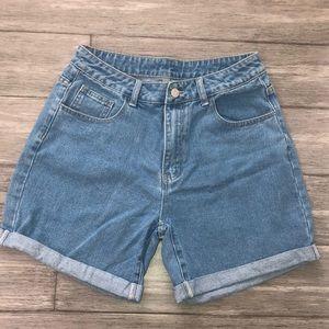 SHEIN High Waist Cuffed Denim Shorts